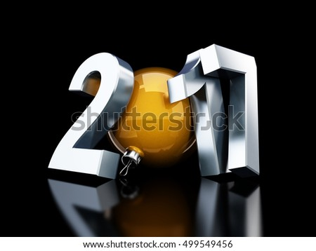 happy new year 2017 on black background 3d Illustrations