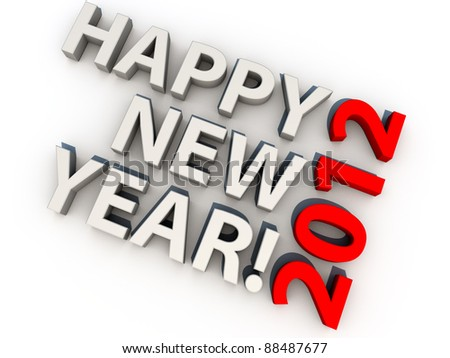 Happy new year 2012, over white background - stock photo