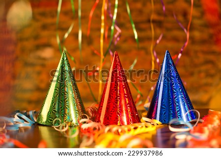 Happy New Year party hat, cone-shaped.  - stock photo
