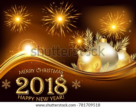 Happy new year printable greeting card stock illustration 781709518 printable greeting card with fireworks and baubles on a brown background m4hsunfo