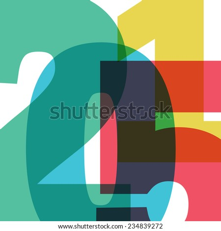 Happy New 2015 Year. Raster version - stock photo
