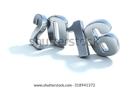 Happy New Year 2016. Realistic 3D numbers isolated on white background - stock photo