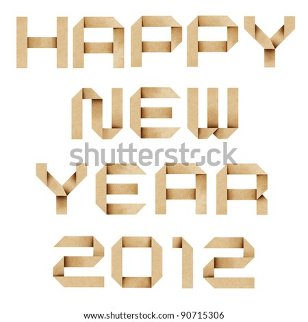 Happy new year 2012  Recycled PaperCraft Background. - stock photo