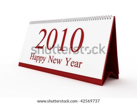 Happy new year 2010 red calendar - stock photo