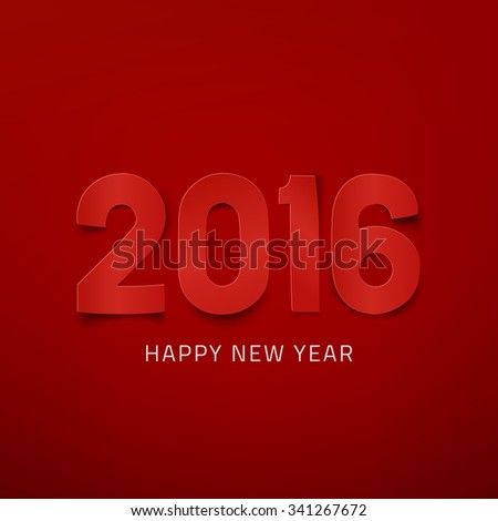 Happy New Year 2016. Red greeting card template - stock photo