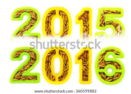 Happy New Year 2016 replace 2015 concept from ear of grains - stock photo
