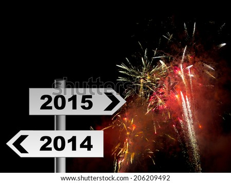 Happy New Year! Road sign with real firework and smoke celebration background. 2015. - stock photo