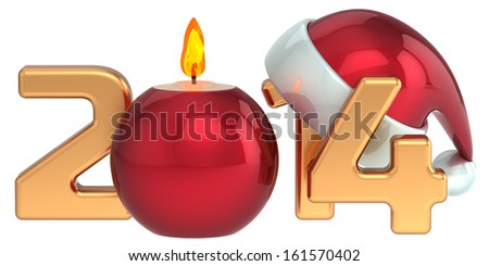 Happy New Year 2014 Santa hat Christmas candle decoration winter holidays stylized souvenir. Detailed 3d render. Isolated on white background - stock photo