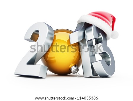 happy new year 2012 santa hat on white background - stock photo