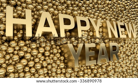 happy new year text is standing among metal spheres with blurred reflections
