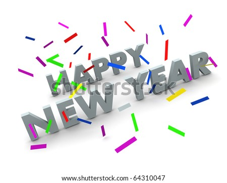 Happy new year text isolated on white with confetti - stock photo