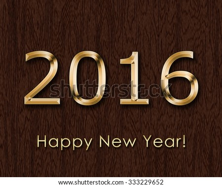 Happy New Year 2015 - text on a wooden background - stock photo