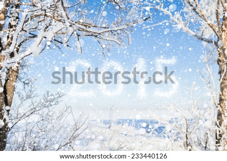 Happy New Year 2015. The inscription of snow in a winter landscape - stock photo