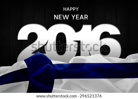 Happy New Year 2016 typography and Finland waving Flag