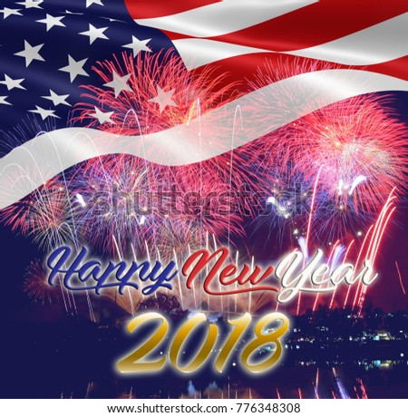 happy new year 2018 usa flag stock photo edit now 776348308