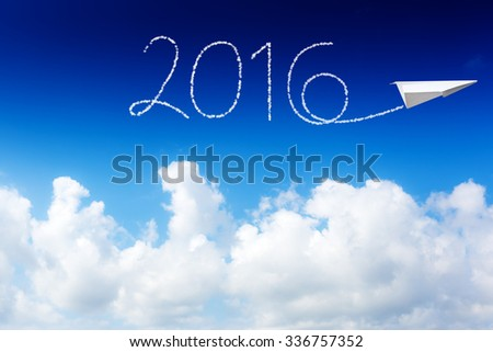 happy new year 2016, white cloud and blue sky on sunny day.  - stock photo