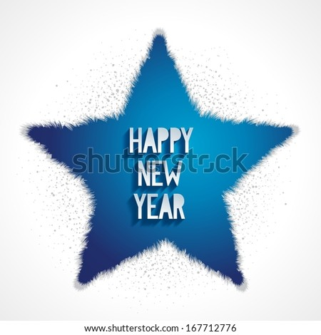 Happy new year white greeting card with blue star 3D effect. Raster illustration