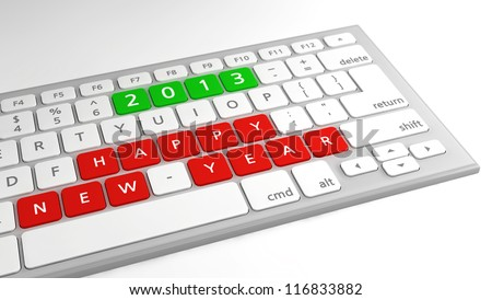 Happy New Year wishes 2013 as keys on a computer keyboard, with focus on wishes. - stock photo