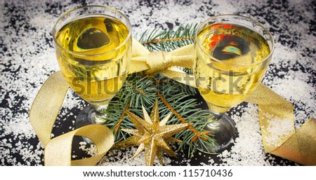 Happy New Year with champagne - wine - stock photo