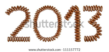 Happy New Year 2013 with chocolate candies (isolated on white background) - stock photo