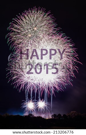 Happy New Year 2015 with colorful sparklers. The words Happy 2015 are integrated into the fireworks with black background - stock photo