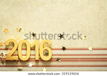 Happy 2016 new year with confetti - stock photo