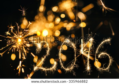 Happy New Year 2016 with Fire Sparkler  - stock photo