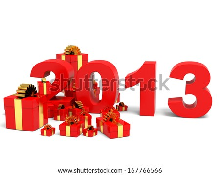 Happy new year 2013 with gifts on white backgriund. 3D illustration. - stock photo