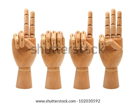 happy new year with wooden hands forming number 2013 - stock photo