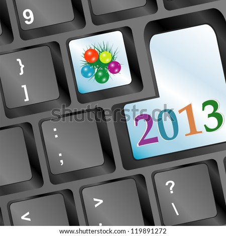 Happy new year word on keyboard button and fir and balls, raster - stock photo
