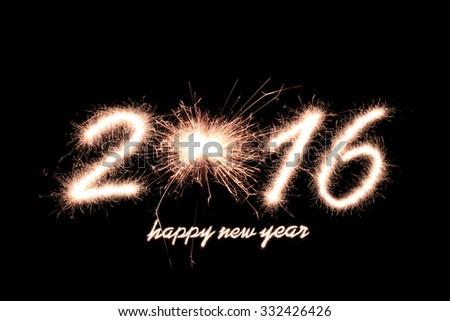 Happy new year 2016 writing sparkles firework - stock photo