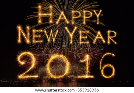 Happy new year 2016 written with Sparkle and firework on black background - stock photo