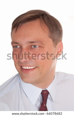 happy nice businessman on a white background - stock photo