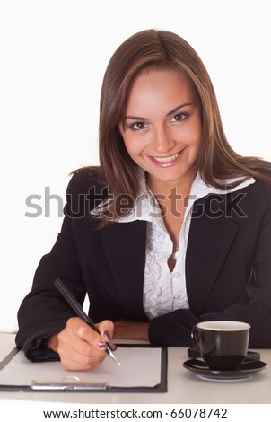happy nice woman on a white background