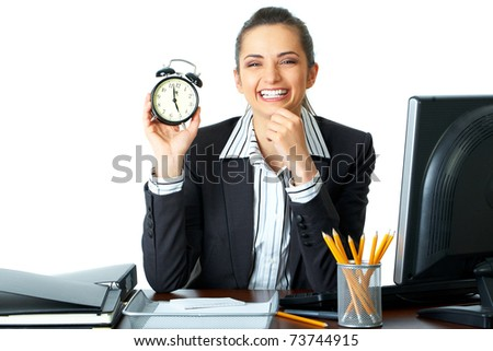 happy office worker holds clock which shows almost 5 o'clock, time to go home concept, deadline, isolated on white