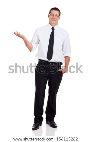 happy office worker presenting and showing something on white background