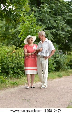 happy old couple in the summer on a walk