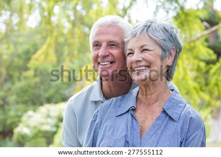 Happy old couple smiling in a park on a sunny day - stock photo