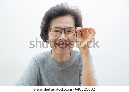 happy old Woman Portrait  with text space, smailing old women - stock photo