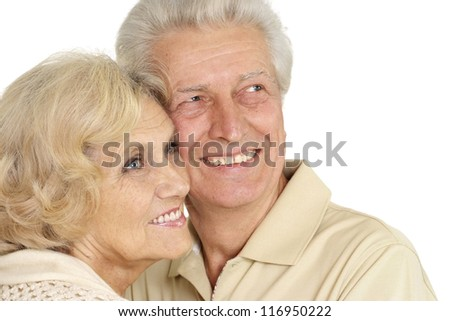 happy older people on a white background
