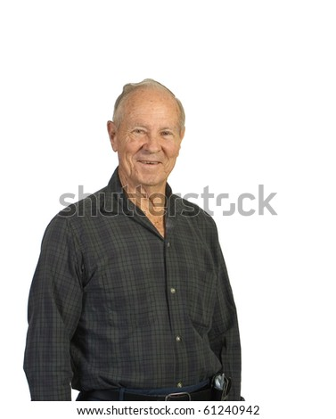 Happy older senior man. Shot against a white background - stock photo
