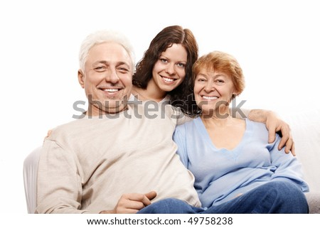 Happy parents with the daughter on a white background - stock photo