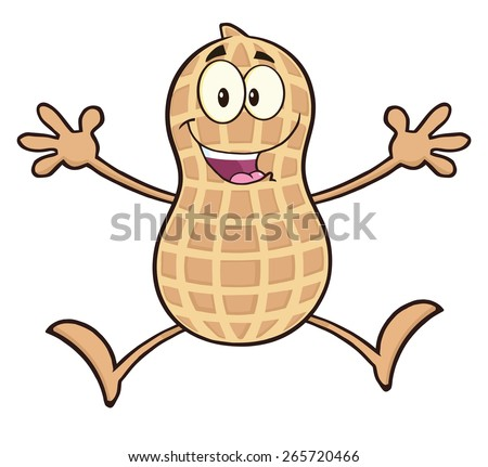 Happy Peanut Cartoon Character Jumping. Raster Illustration Isolated On White - stock photo