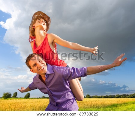 Happy people are jumping, having fun. - stock photo