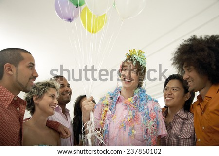 Happy People at a Birthday Party - stock photo