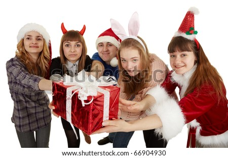 Happy people give one big general gift isolated on a white background - stock photo