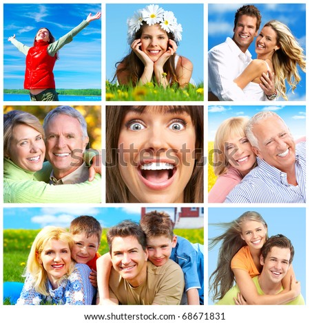 Happy people in park - stock photo