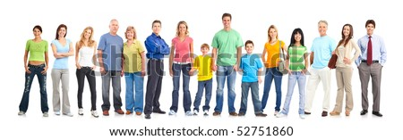 Happy people. Isolated over white background - stock photo