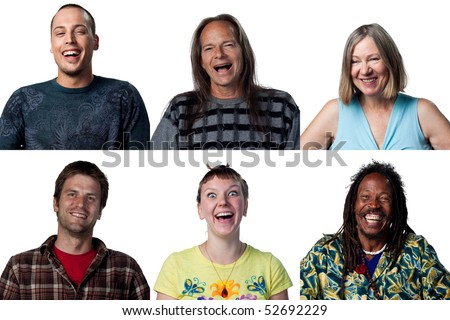 Happy people laughing out loud to the camera - stock photo
