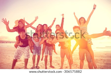 happy people on beach, summer, holidays, vacation,